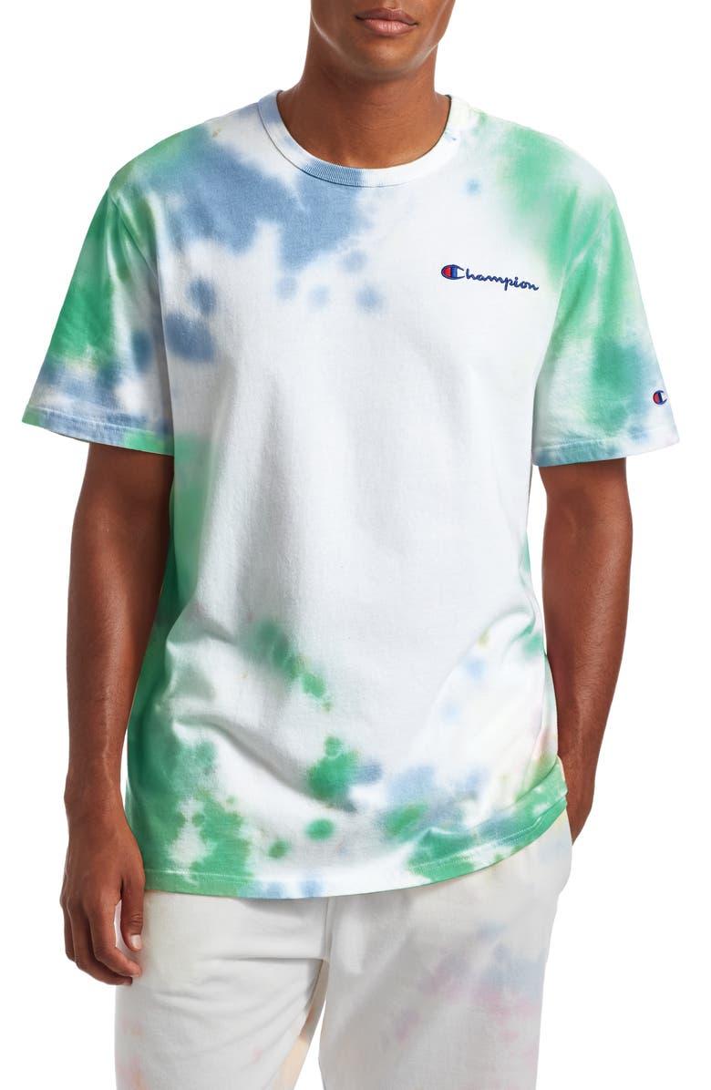 CHAMPION Cloud Dye T-Shirt, Main, color, CLOUD DYE FRONTIER BLUE/ GREEN