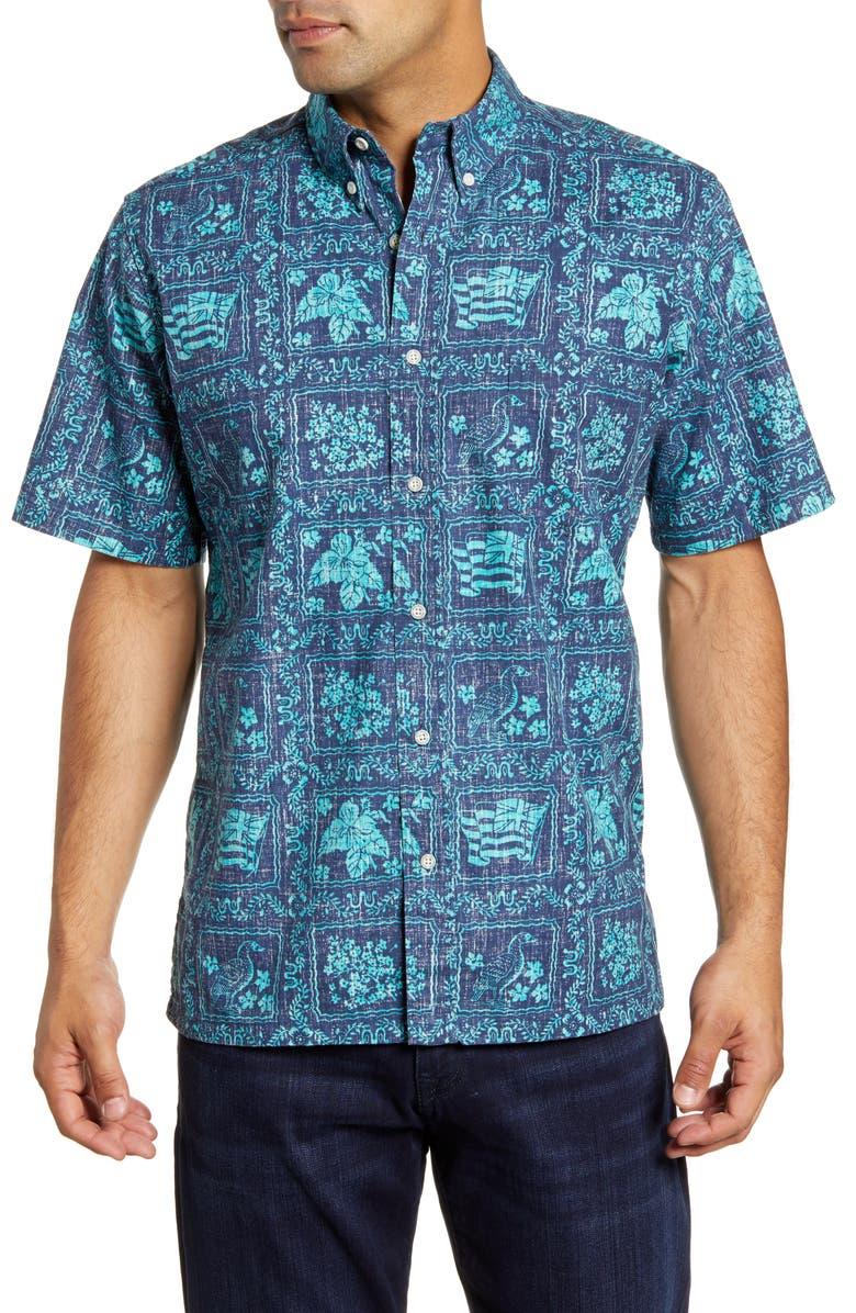 REYN SPOONER Lahaina Sailor Classic Fit Short Sleeve Button-Down Sport Shirt, Main, color, DRESS BLUES