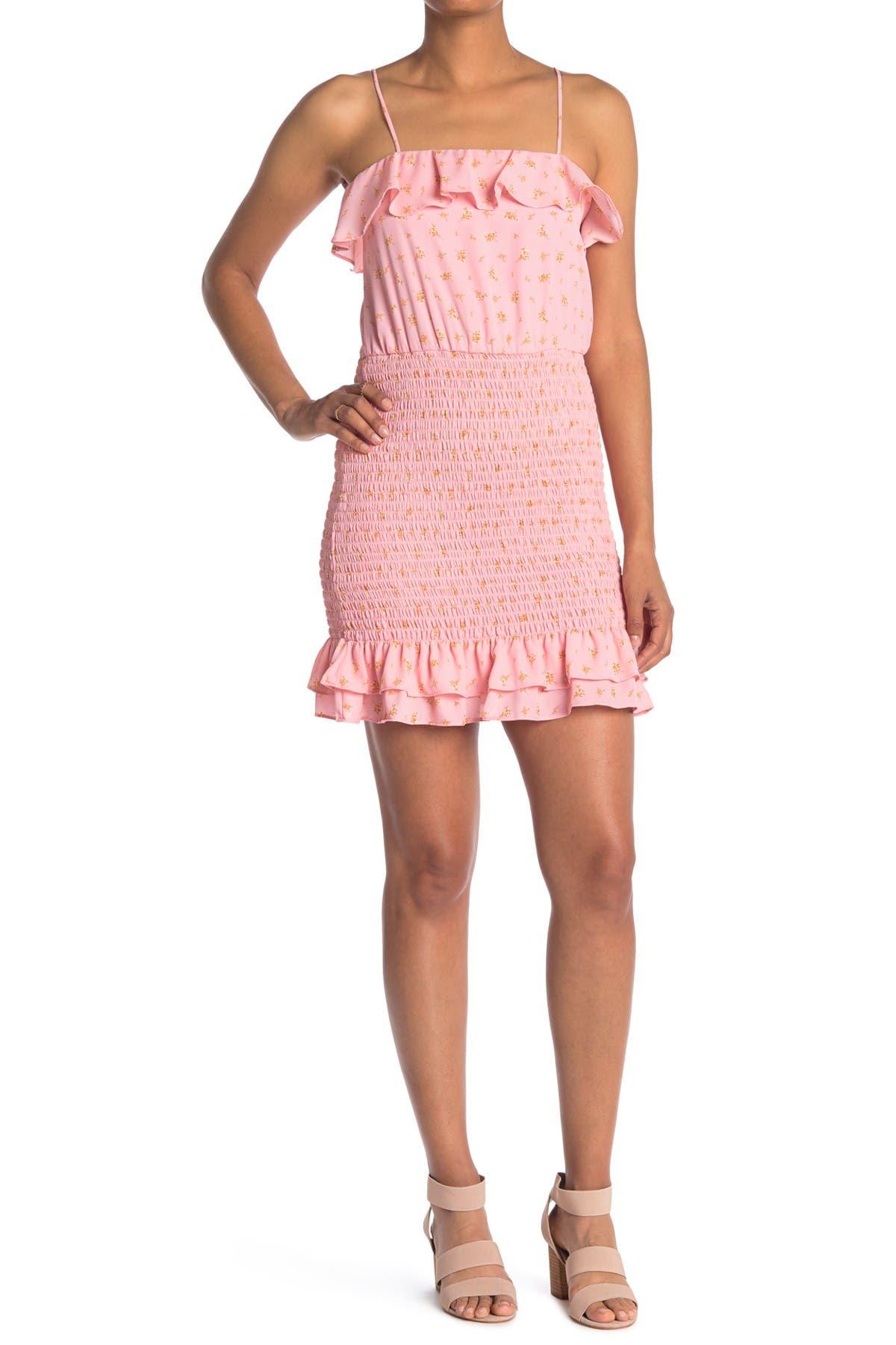 Image of ROW A Spaghetti Strap Printed Ruffle Smocked Mini Dress