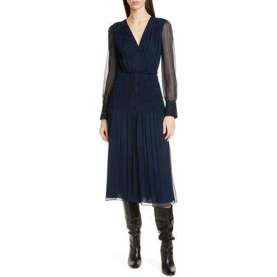Jason Wu Long Sleeve Crinkle Silk Chiffon Midi Dress, Blue