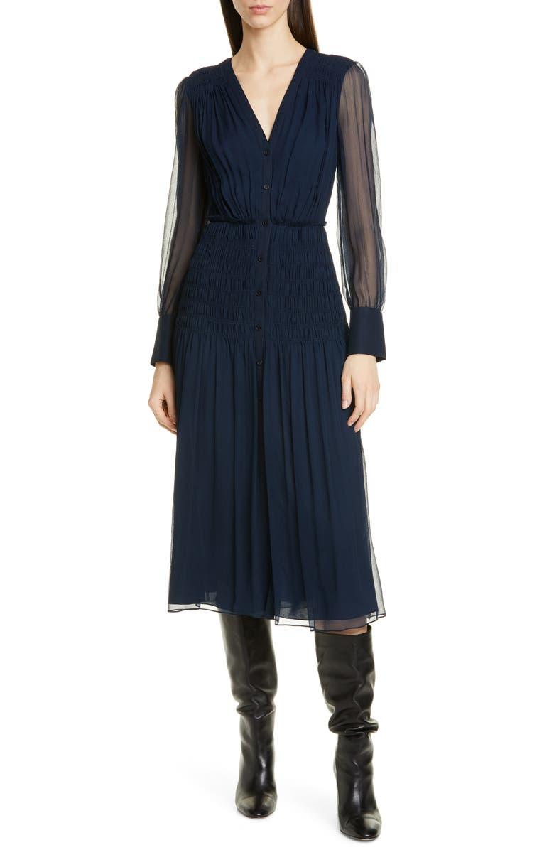 JASON WU Long Sleeve Crinkle Silk Chiffon Midi Dress, Main, color, MIDNIGHT