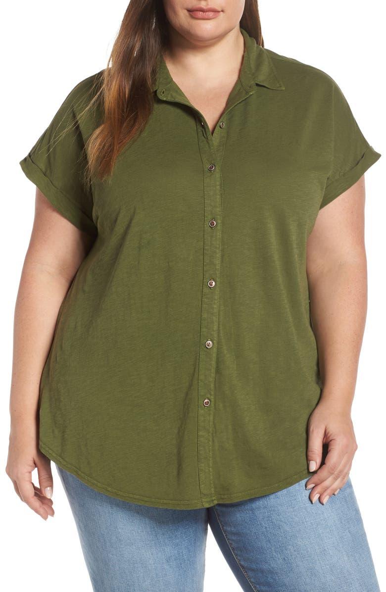 CASLON<SUP>®</SUP> Slub Jersey Camp Shirt, Main, color, OLIVE MOSS