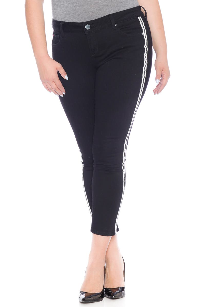 SLINK JEANS Double Stripe Ankle Skinny Jeans, Main, color, 005