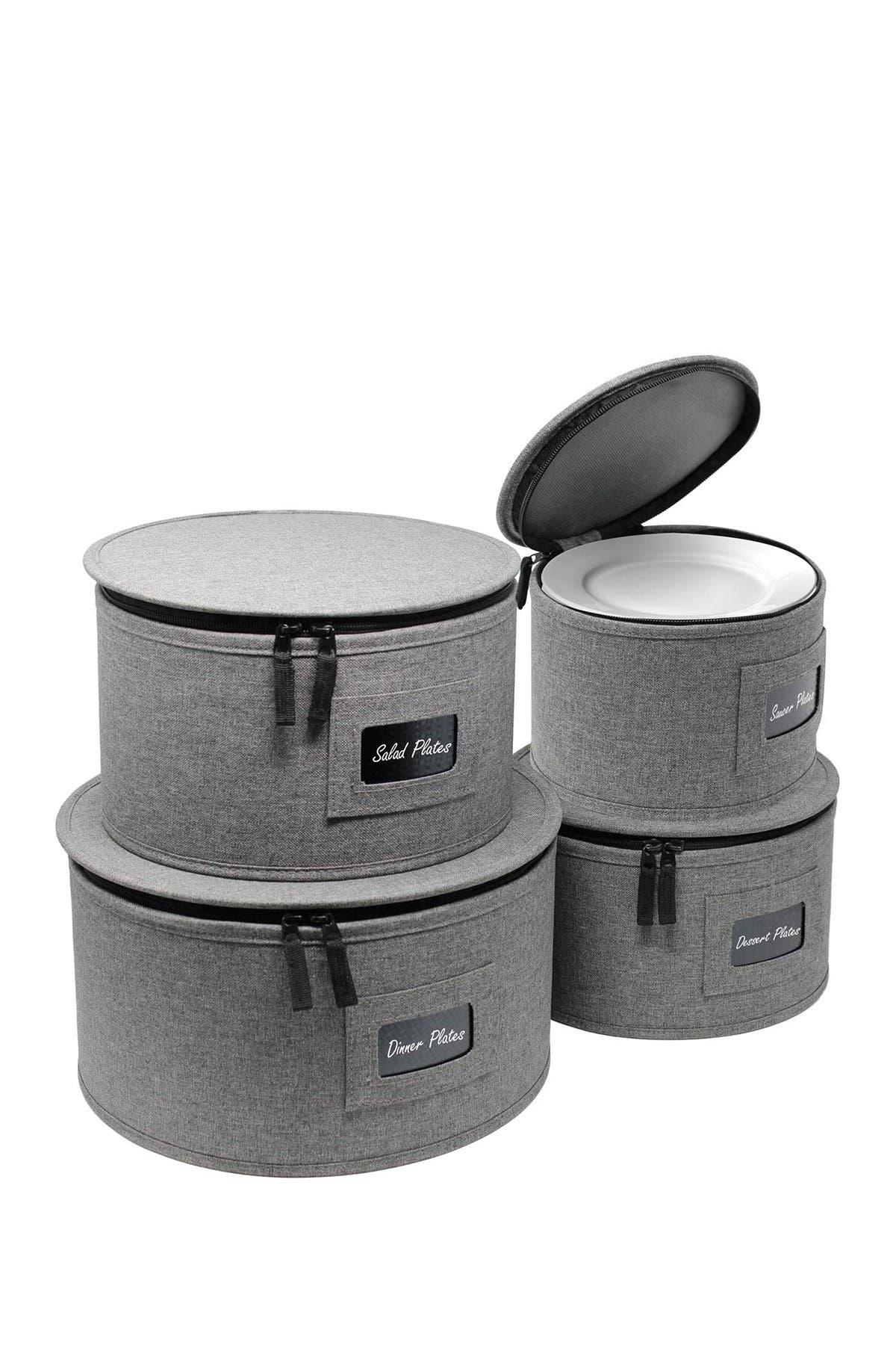 Image of Sorbus 4-Piece Dinnerware Storage Set - Grey