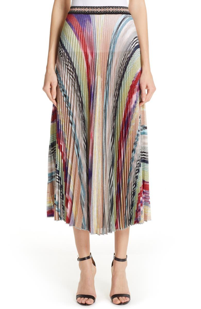 fe0b1749b Pleated Metallic Stripe Midi Skirt, Main, color, GREEN