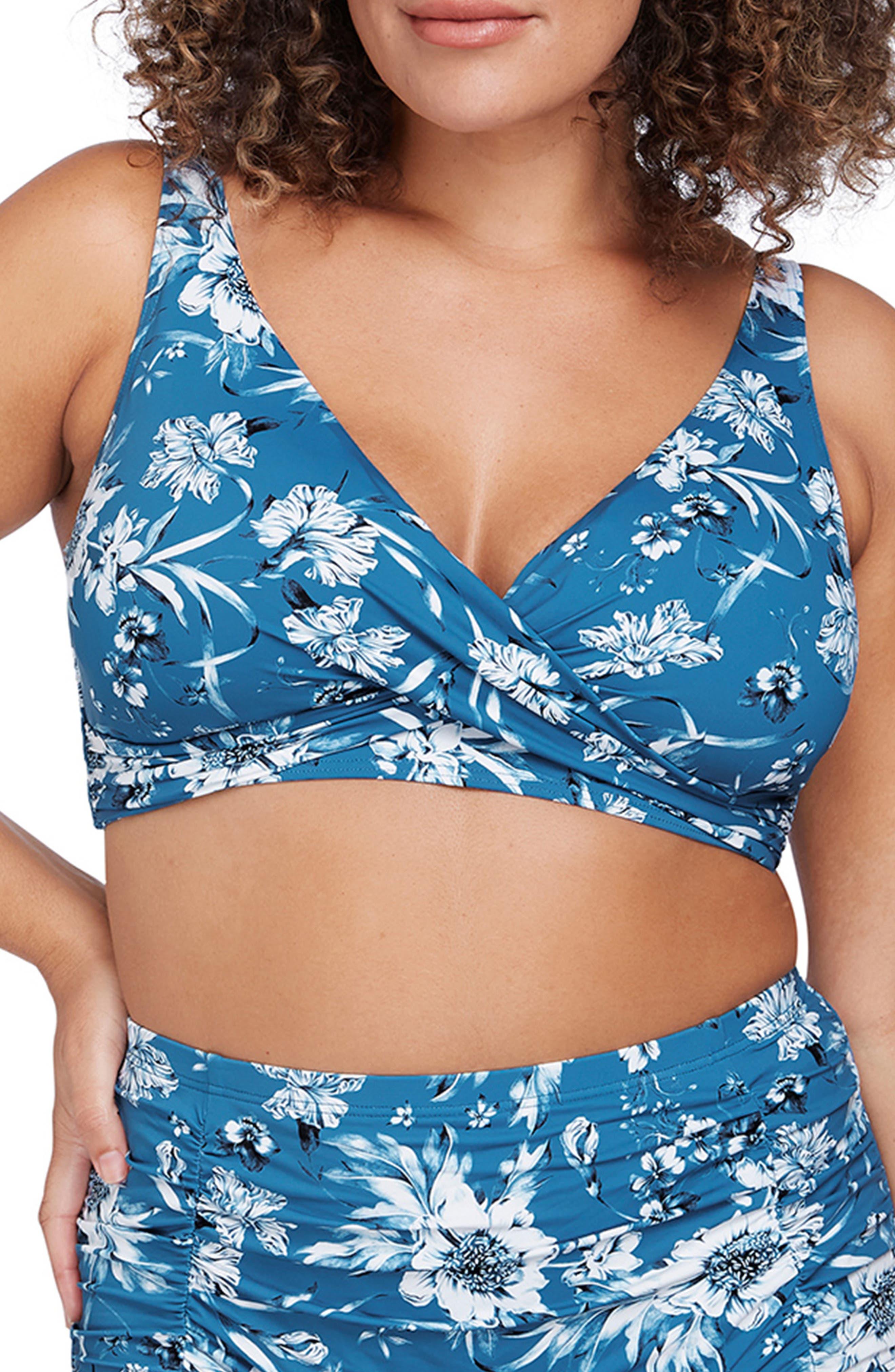 Delacroix Cross Front Floral Bikini Top