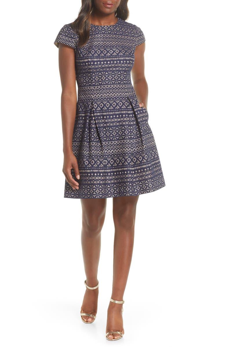 VINCE CAMUTO Bonded Lace Fit & Flare Cotton Blend Dress, Main, color, NAVY