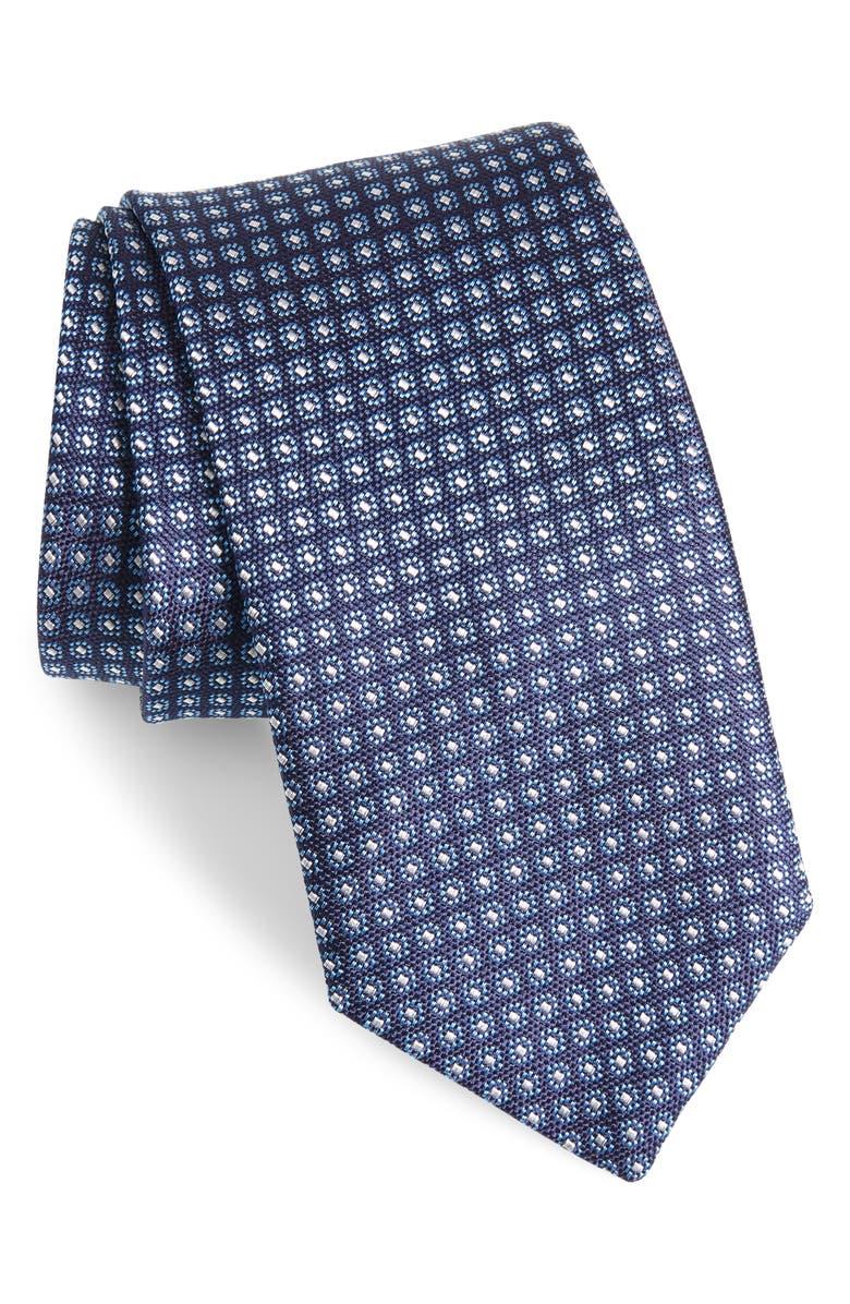 DAVID DONAHUE Geometric Silk Tie, Main, color, NAVY