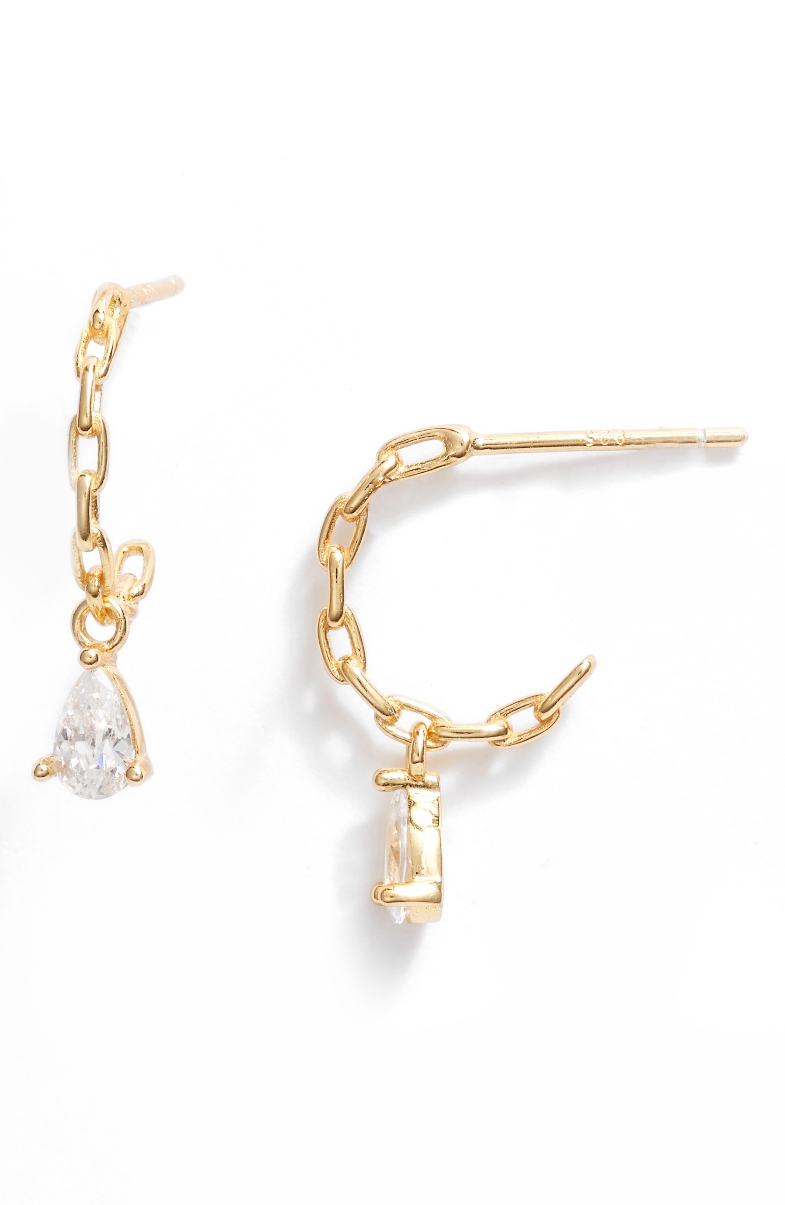 Cubic Zironia Drop Huggie Hoop Earrings
