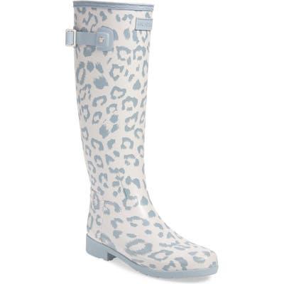 Hunter Original Leopard Print Refined Tall Waterproof Rain Boot, Grey
