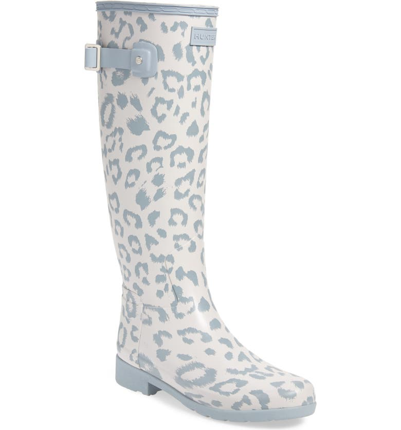 HUNTER Original Leopard Print Refined Tall Waterproof Rain Boot, Main, color, CLATTER/ STORMY