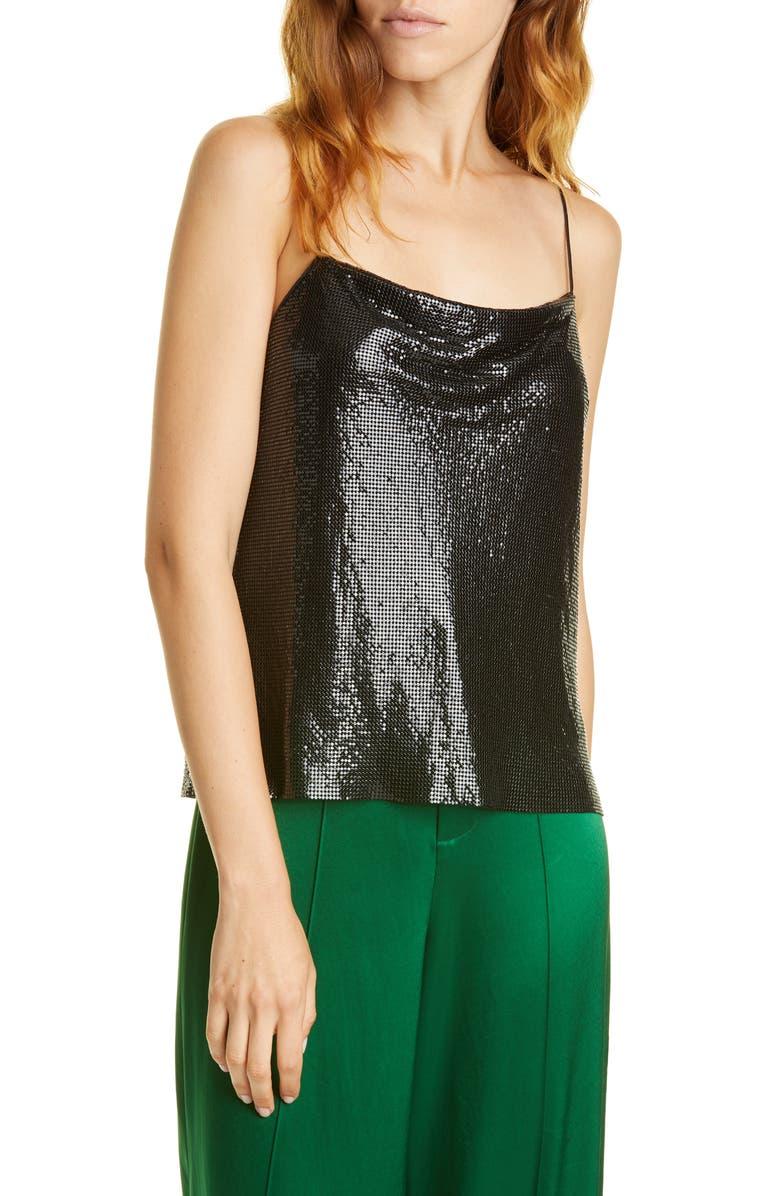 ALICE + OLIVIA Harmon Chain Mail Drapey Camisole, Main, color, BLACK
