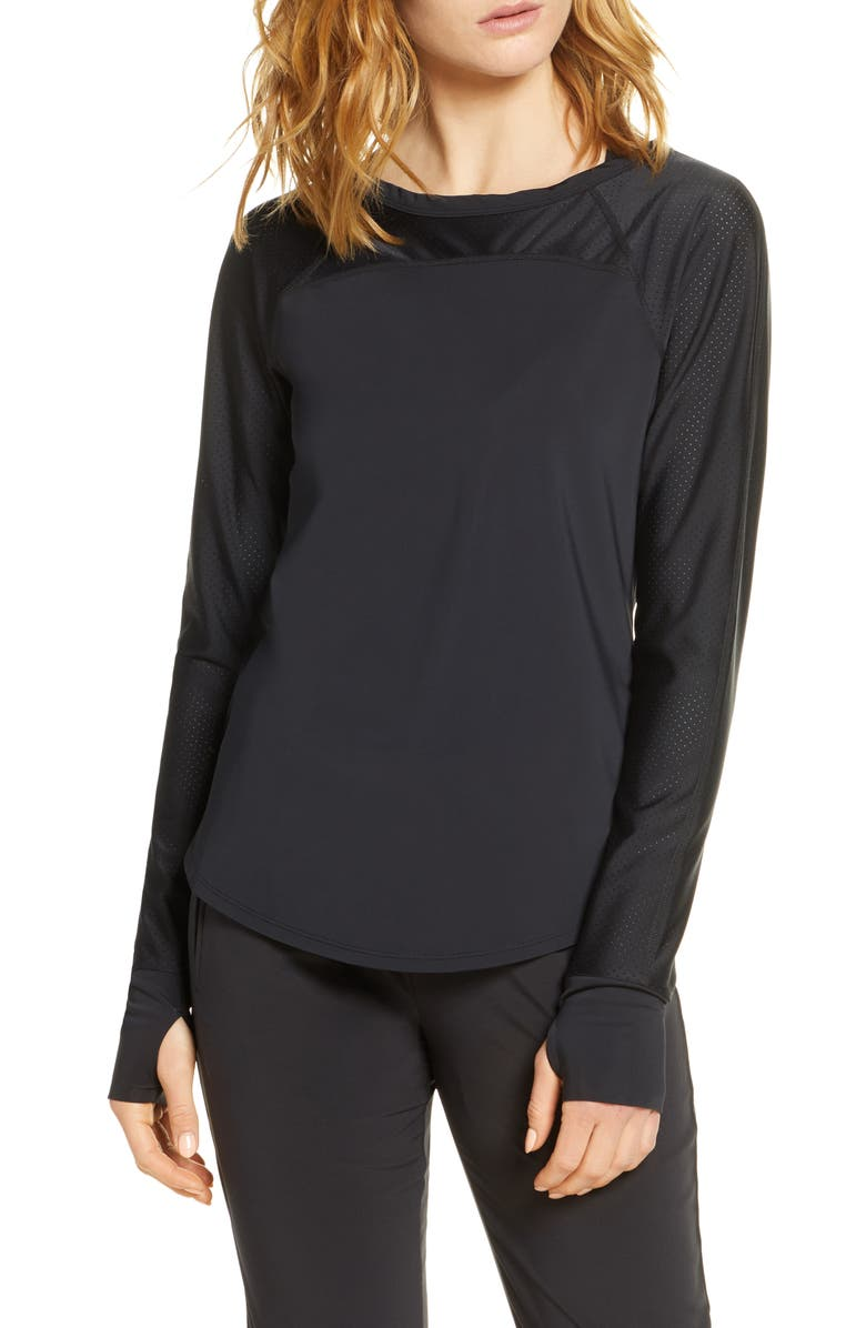 ZELLA Hi Energy Long Sleeve Active Tee, Main, color, 001
