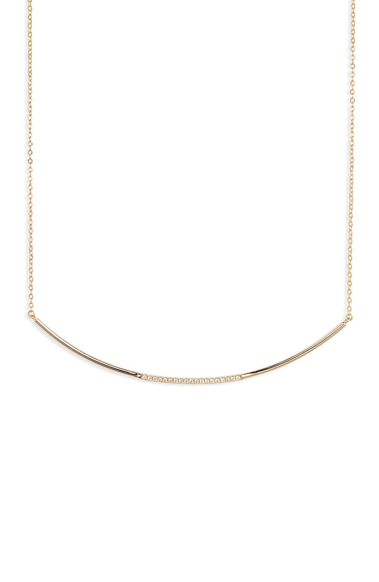 NORDSTROM Curved Pavé Bar Necklace, Main, color, CLEAR- GOLD