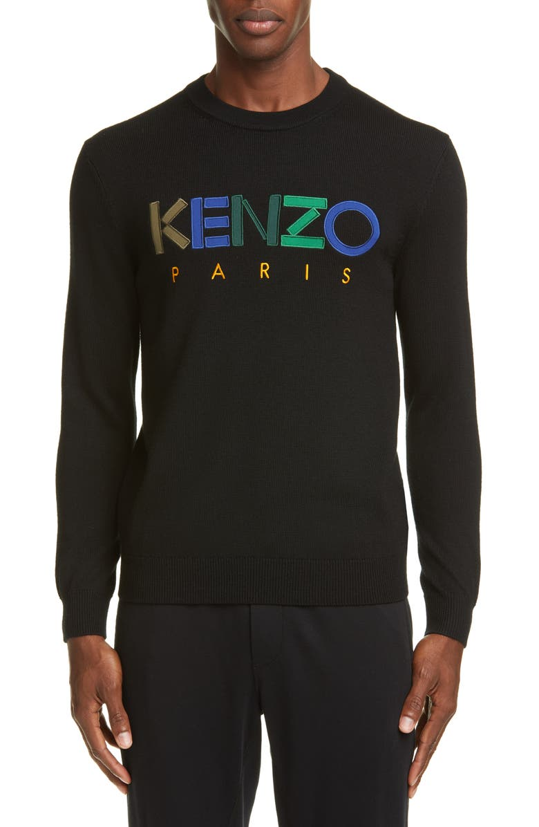 KENZO Logo Wool Sweater, Main, color, BLACK
