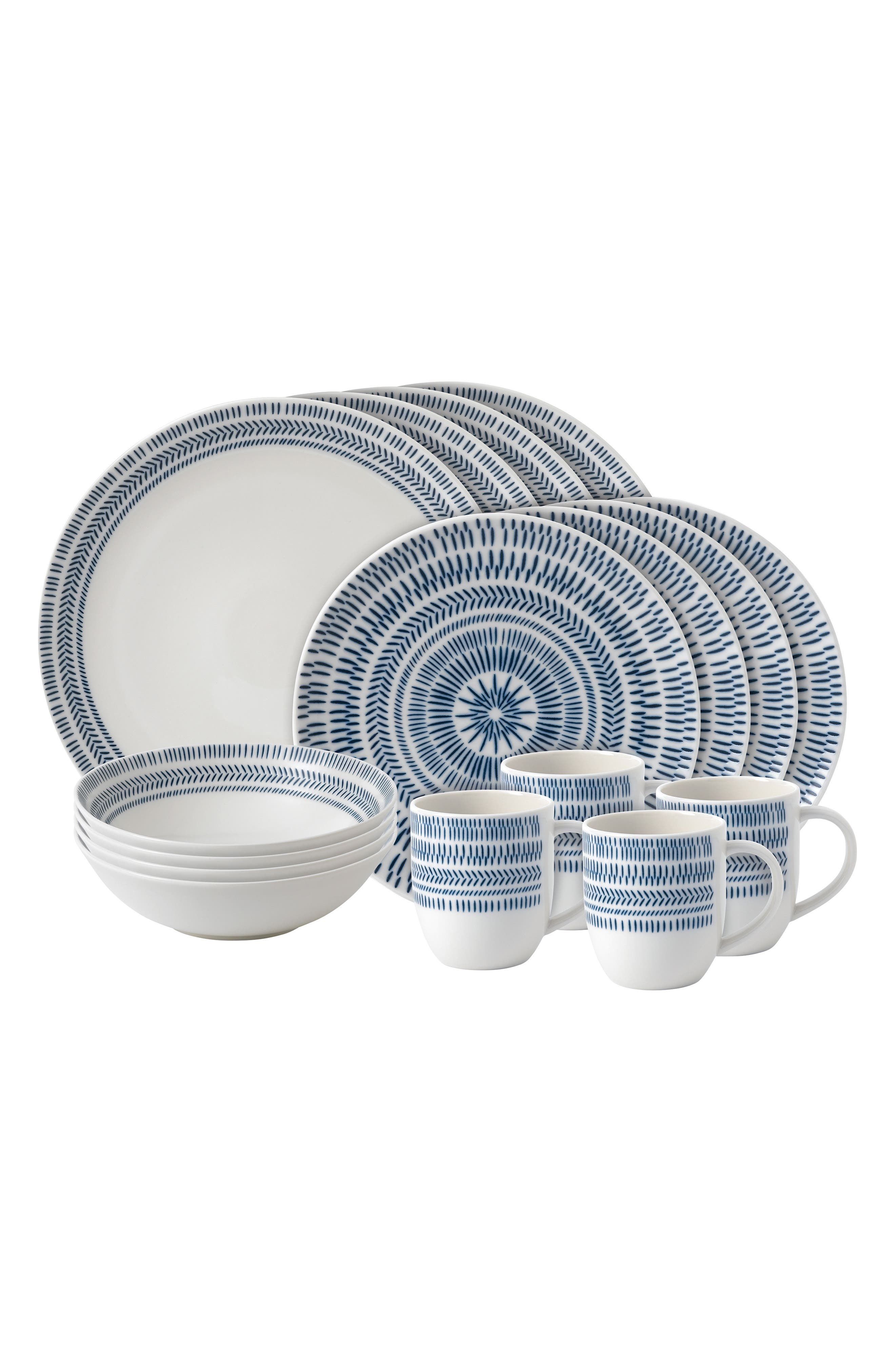 Chevron 16-Piece Dinnerware Set, Main, color, COBALT BLUE