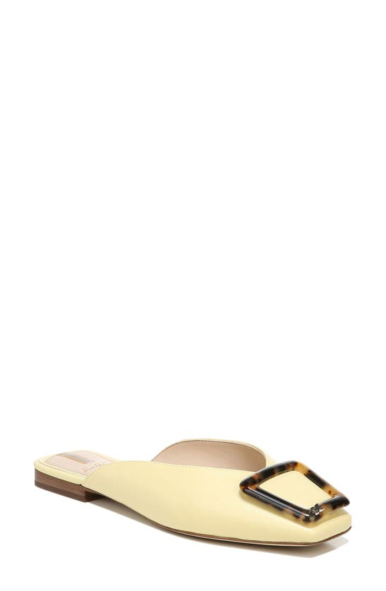 Sam Edelman Lavina' Buckle Leather Slides In Canary Yellow Leather