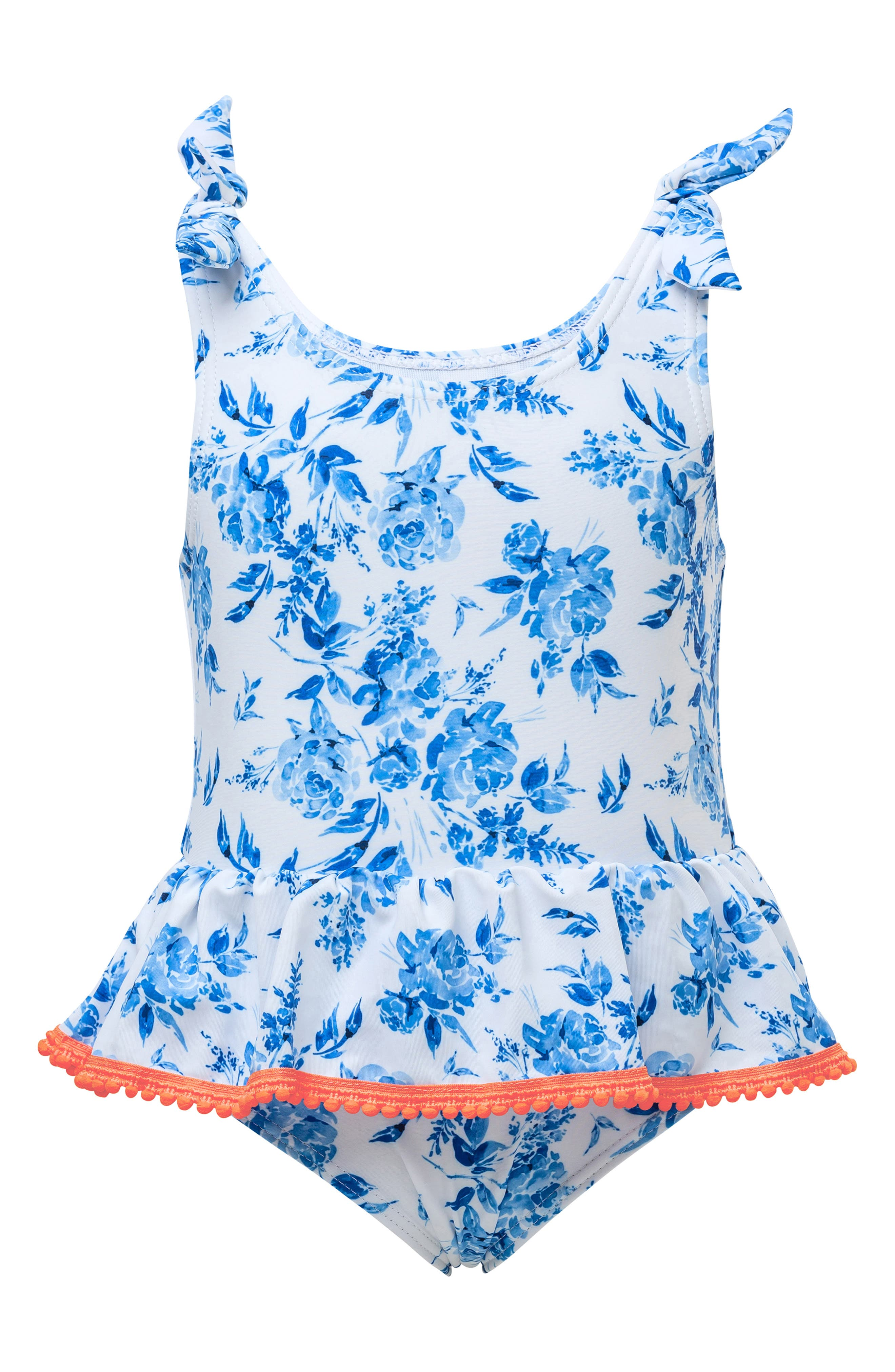 Infant Girls Snapper Rock Cottage Floral OnePiece Swimsuit Size 612M  Blue