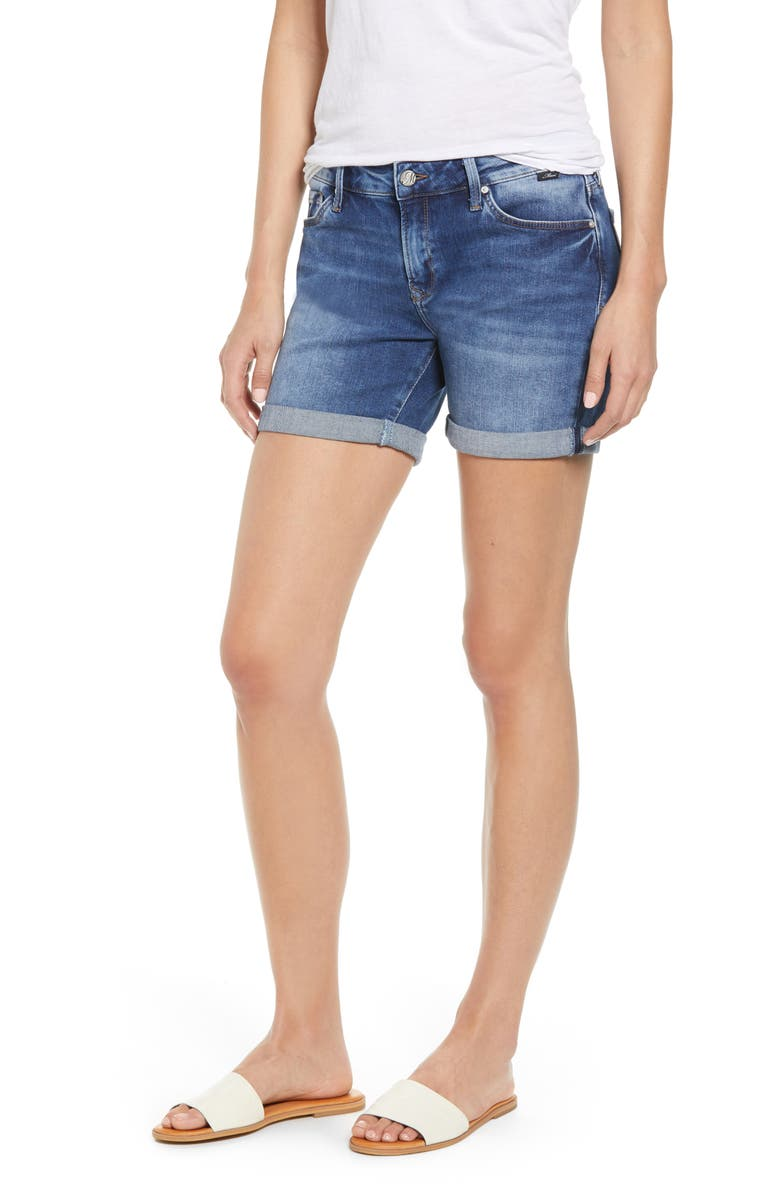 MAVI JEANS Pixie Denim Shorts, Main, color, MID INDIGO STR
