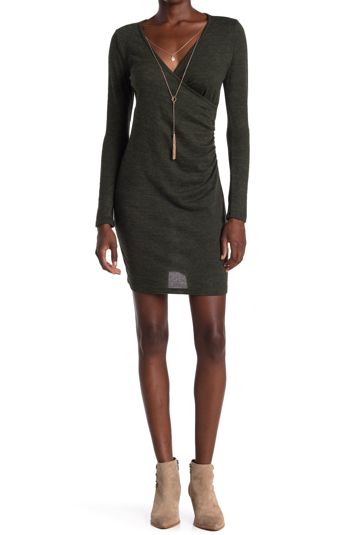 Image of BAILEY BLUE Surplice Attached Chain Necklace Mini Dress
