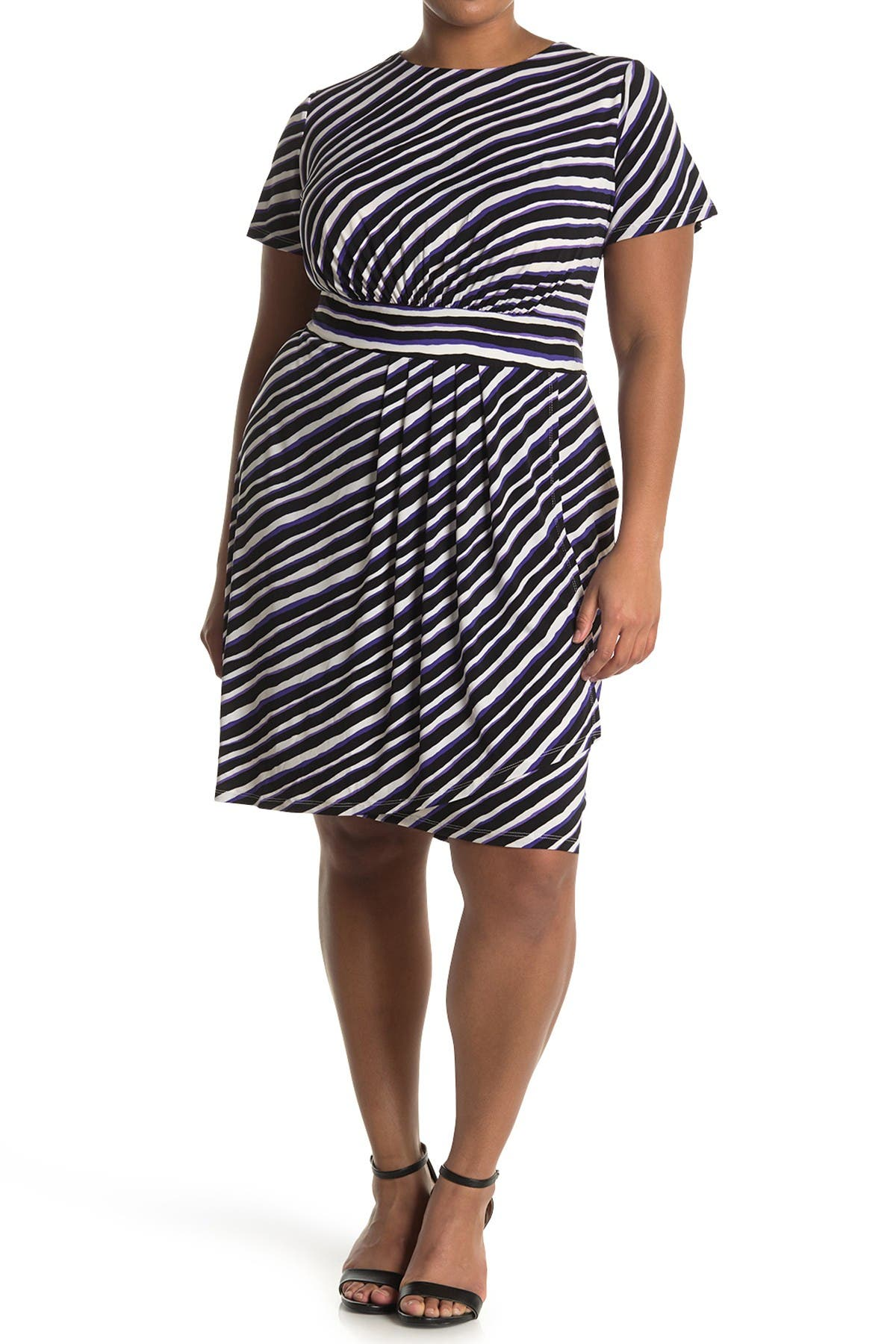 Image of London Times Techno Stripe Short Sleeve Jersey Sheath Dress