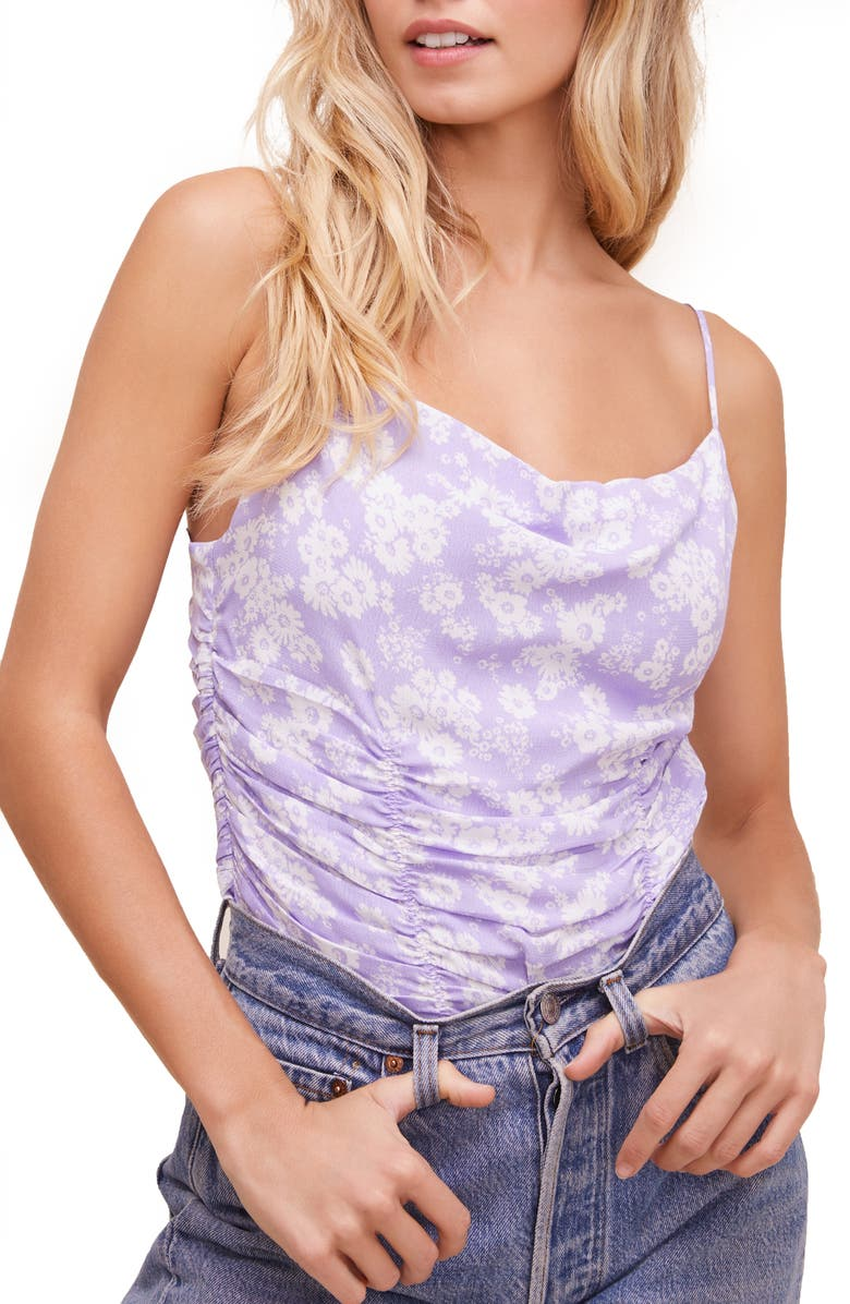 ASTR THE LABEL Ruched Floral Print Cami, Main, color, LAVENDER DAISY