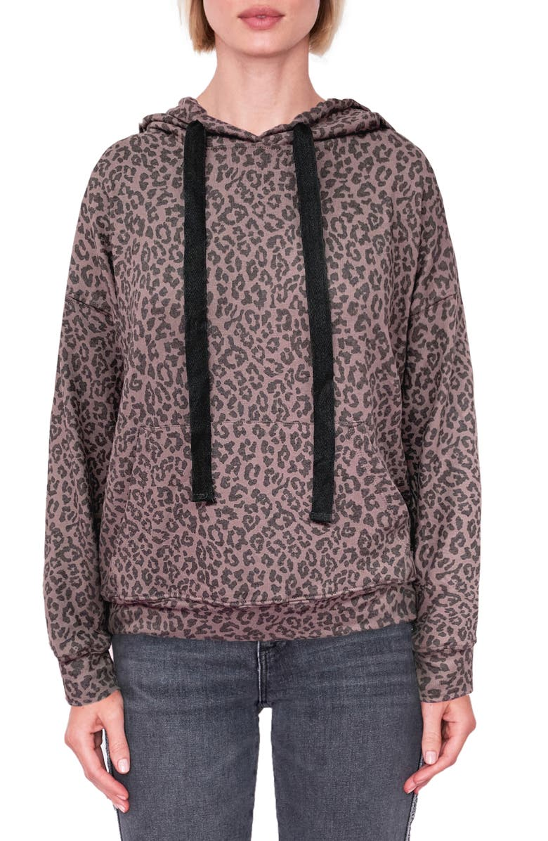 SUNDRY Leopard Hoodie, Main, color, MINK