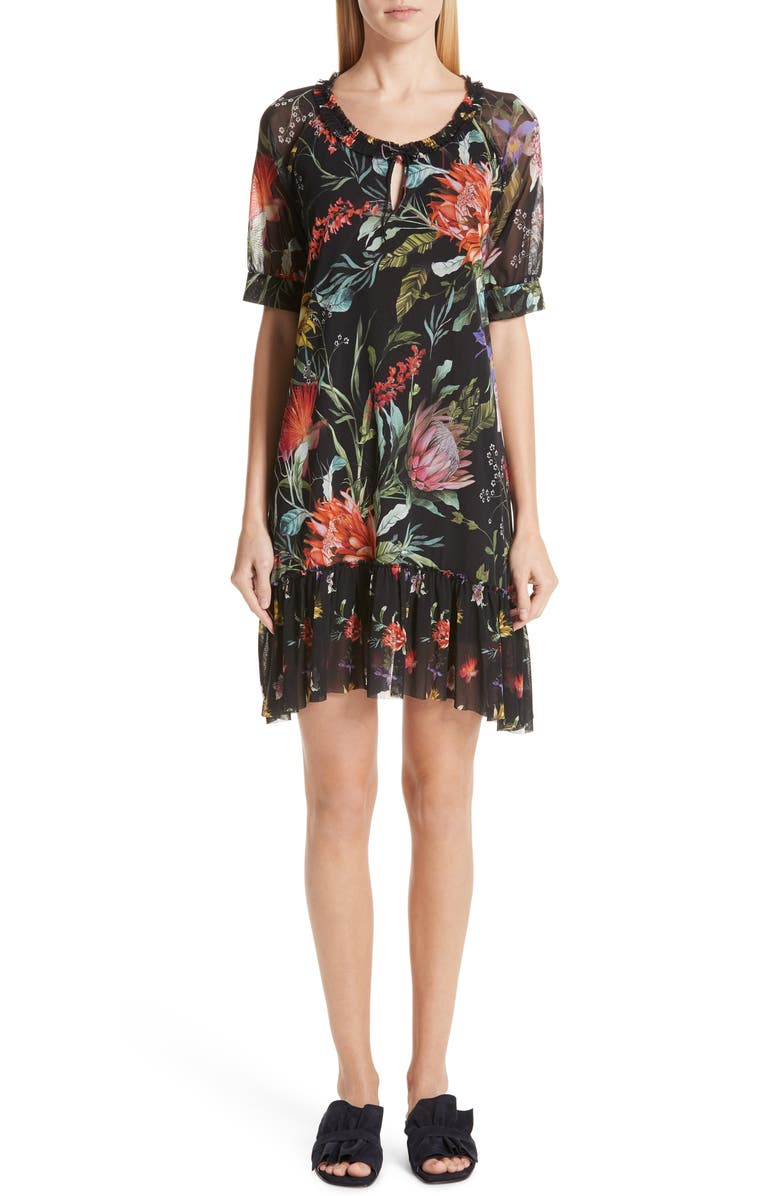 FUZZI Floral Ruffle Tulle Dress, Main, color, 001