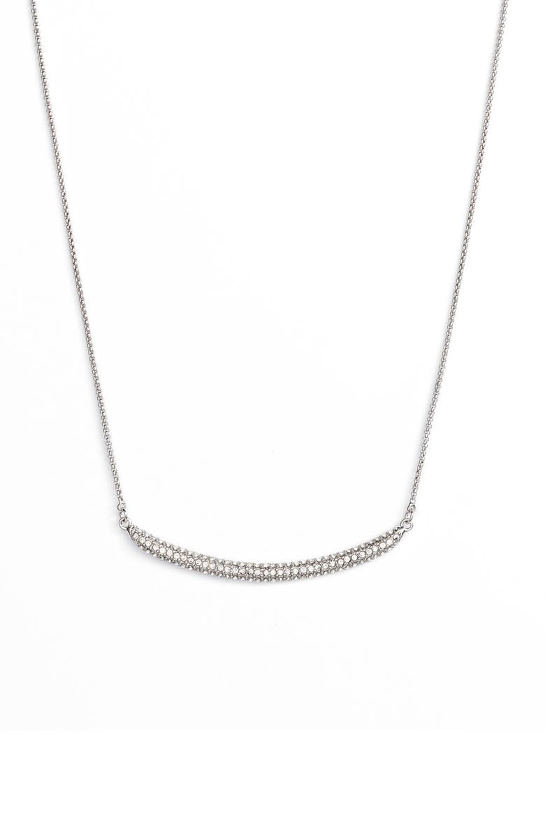 VINCE CAMUTO Curved Pavé Bar Necklace, Main, color, SILVER/ CRYSTAL