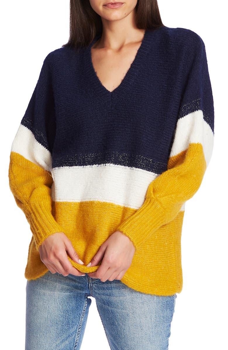 1.STATE Stripe V-Neck Tunic Sweater, Main, color, 400