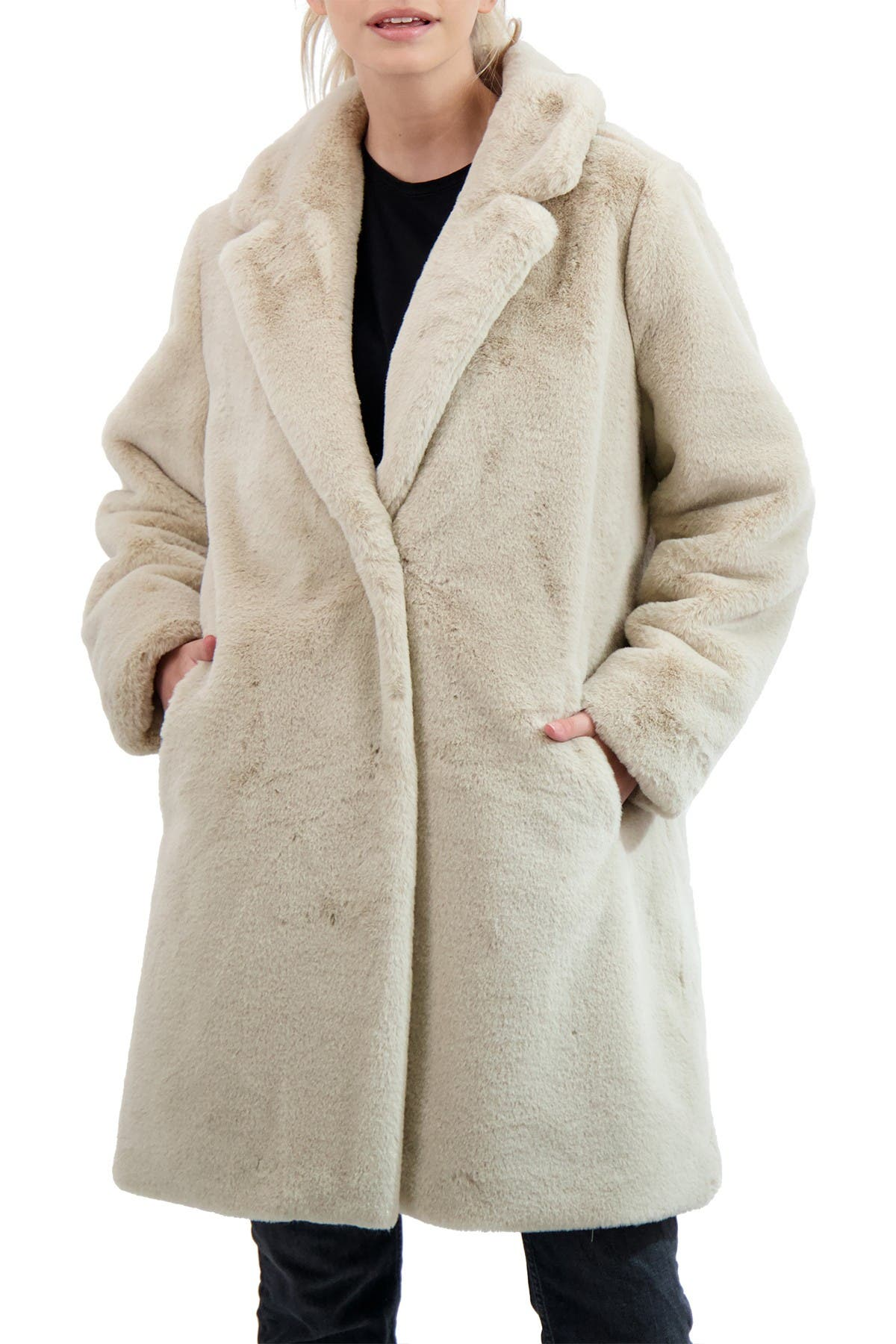 Image of Sebby Collection Faux Fur Coat