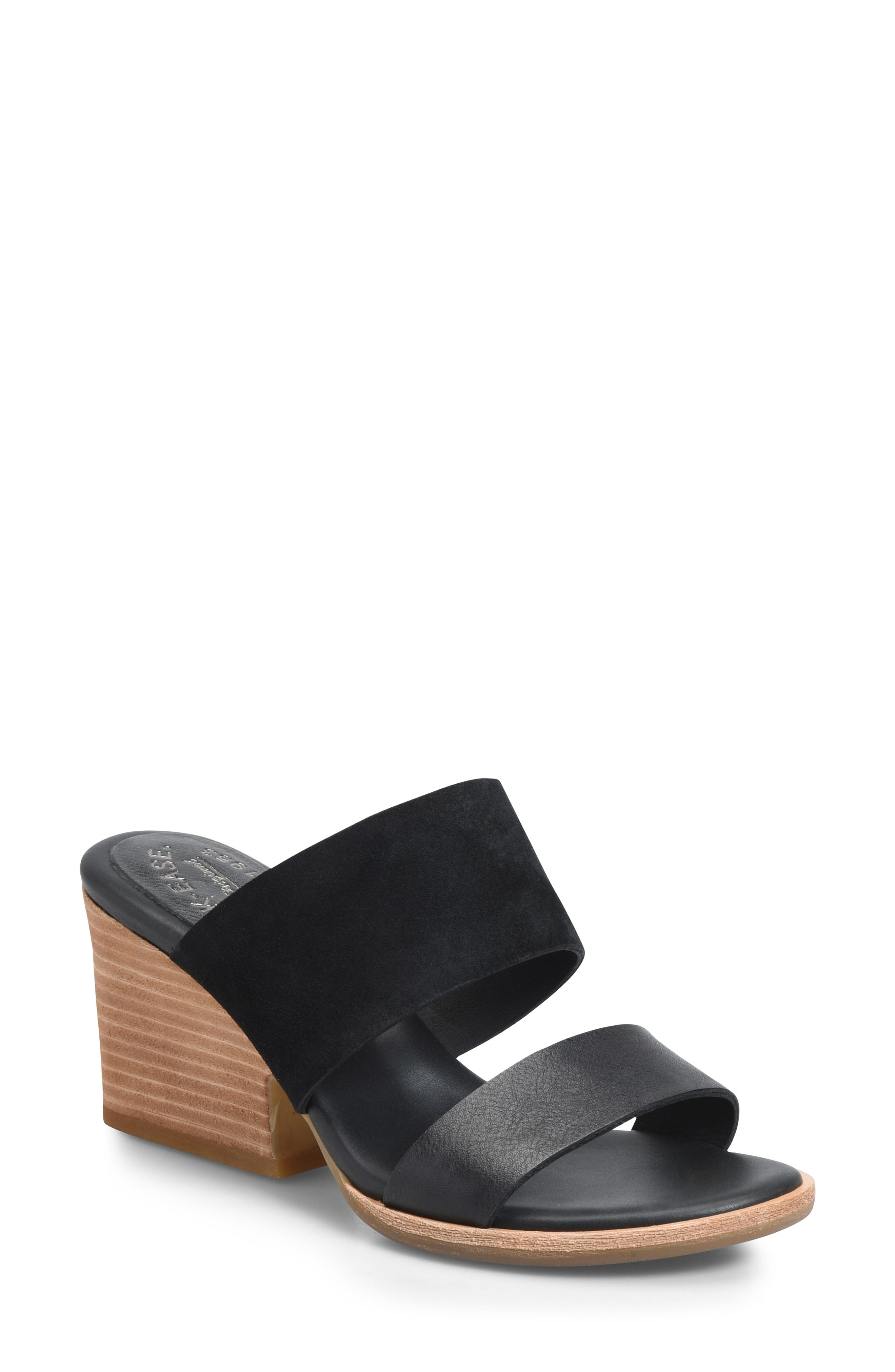 Gorrie Slide Sandal, Main, color, BLACK/ BLACK LEATHER/ SUEDE
