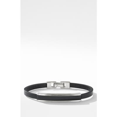 David Yurman Deco Bar Station Leather Bracelet With Black Onyx