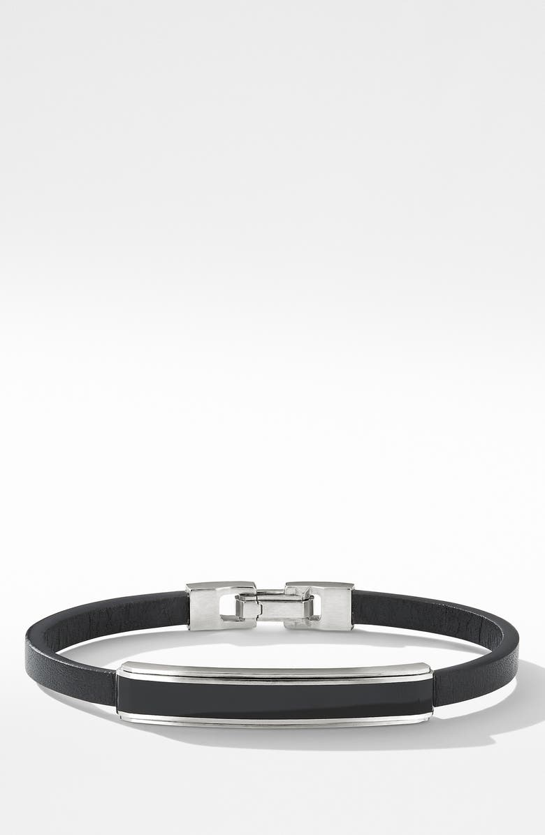 DAVID YURMAN Deco Bar Station Leather Bracelet with Black Onyx, Main, color, BLACK ONYX