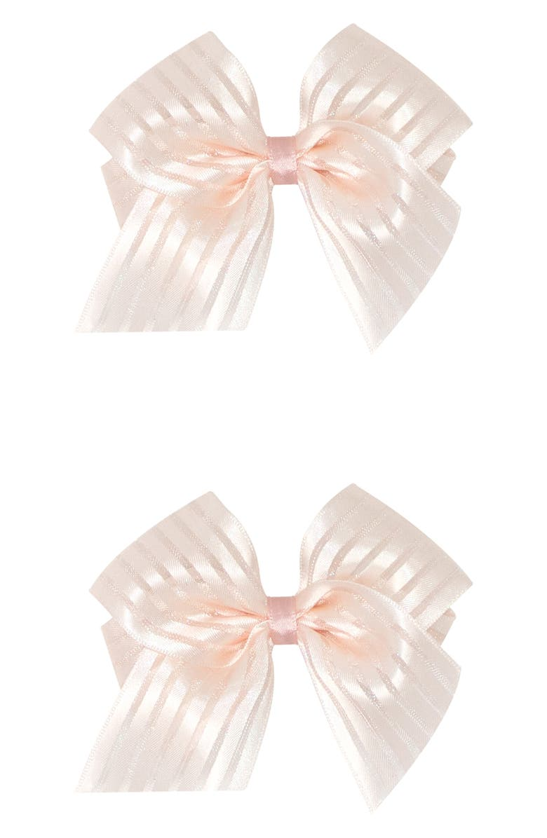 PLH BOWS 2-Pack Satin Bow Hair Clips, Main, color, BLUSH