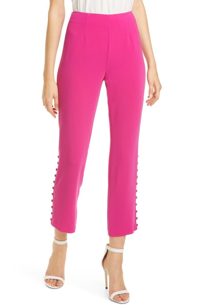CINQ À SEPT Lida Side Button Pants, Main, color, PINK RUBY