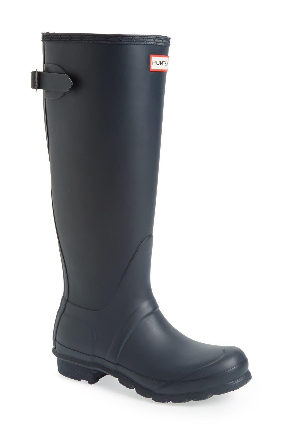 Hunter Original Tall Adjustable Back Waterproof Rain Boot, Blue