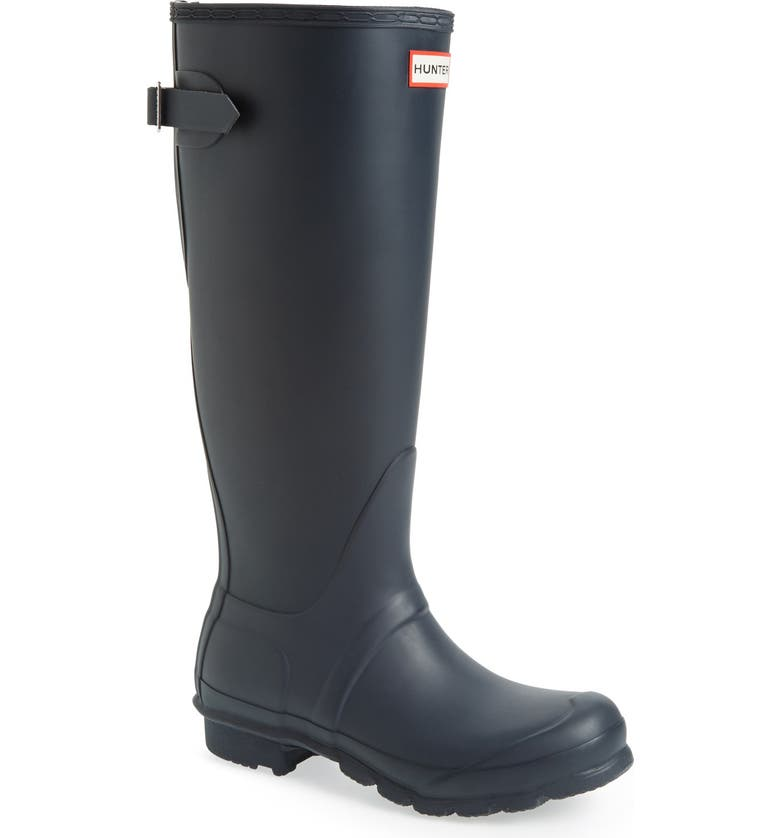 HUNTER Original Tall Adjustable Back Waterproof Rain Boot, Main, color, NAVY MATTE