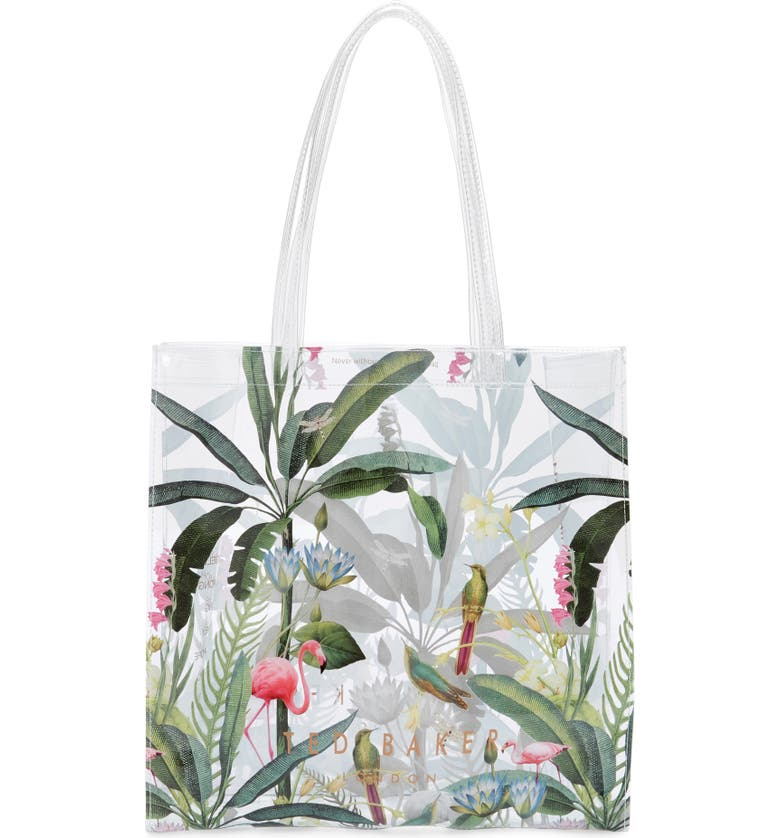TED BAKER LONDON Large Pistachio Print Icon Tote, Main, color, CLEAR