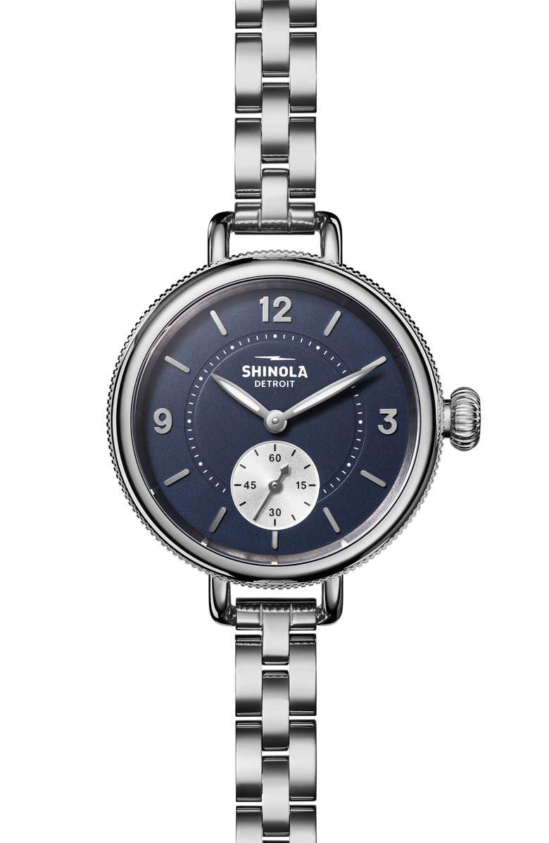 SHINOLA Birdy Bracelet Watch, 34mm, Main, color, SILVER/ MIDNIGHT BLUE/ SILVER