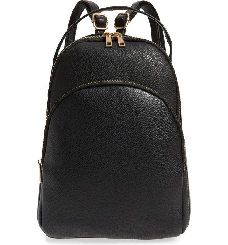 BP. Mini Faux Leather Backpack, Main, color, BLACK