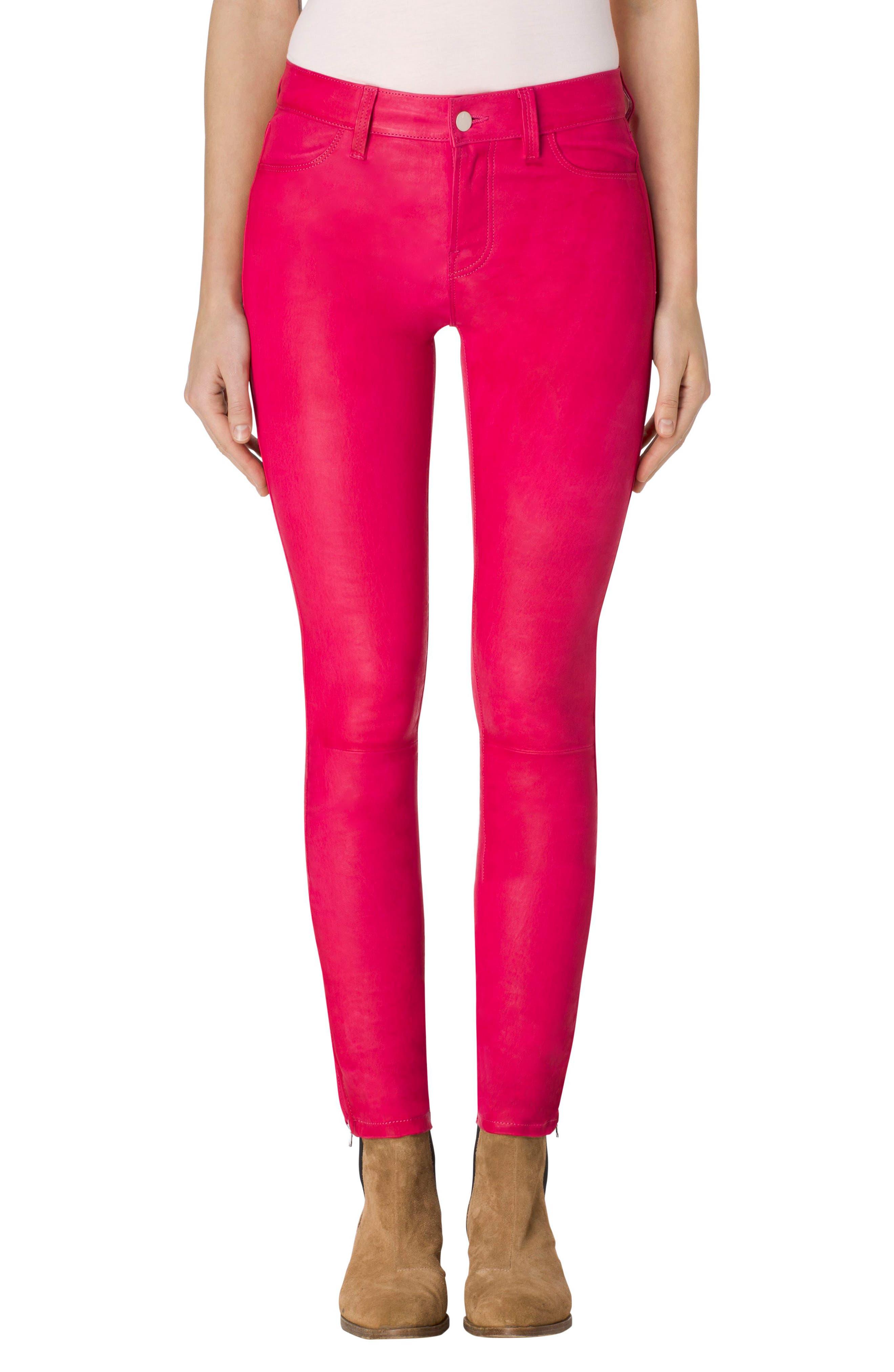 ,                             '8001' Lambskin Leather Pants,                             Main thumbnail 75, color,                             670