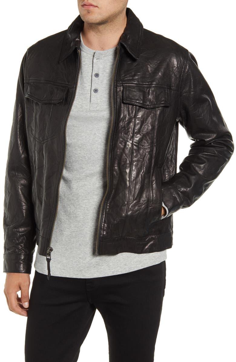 FRAME Classic Fit Leather Trucker Jacket, Main, color, NOIR