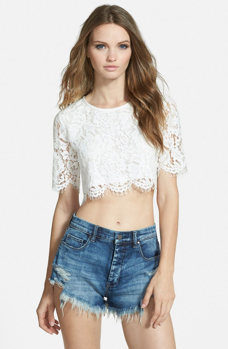 MISSGUIDED Scalloped Lace Crop Top, Main, color, 100