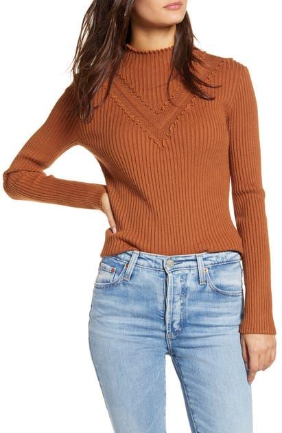 English Factory Mini Ruffle Sweater In Sienna