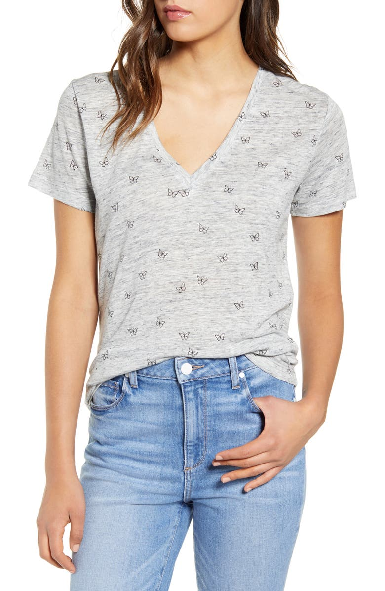 RAILS Cara Tee, Main, color, HEATHER GREY BUTTERFLIES