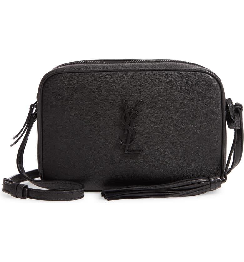 SAINT LAURENT Lou Leather Camera Bag, Main, color, NOIR