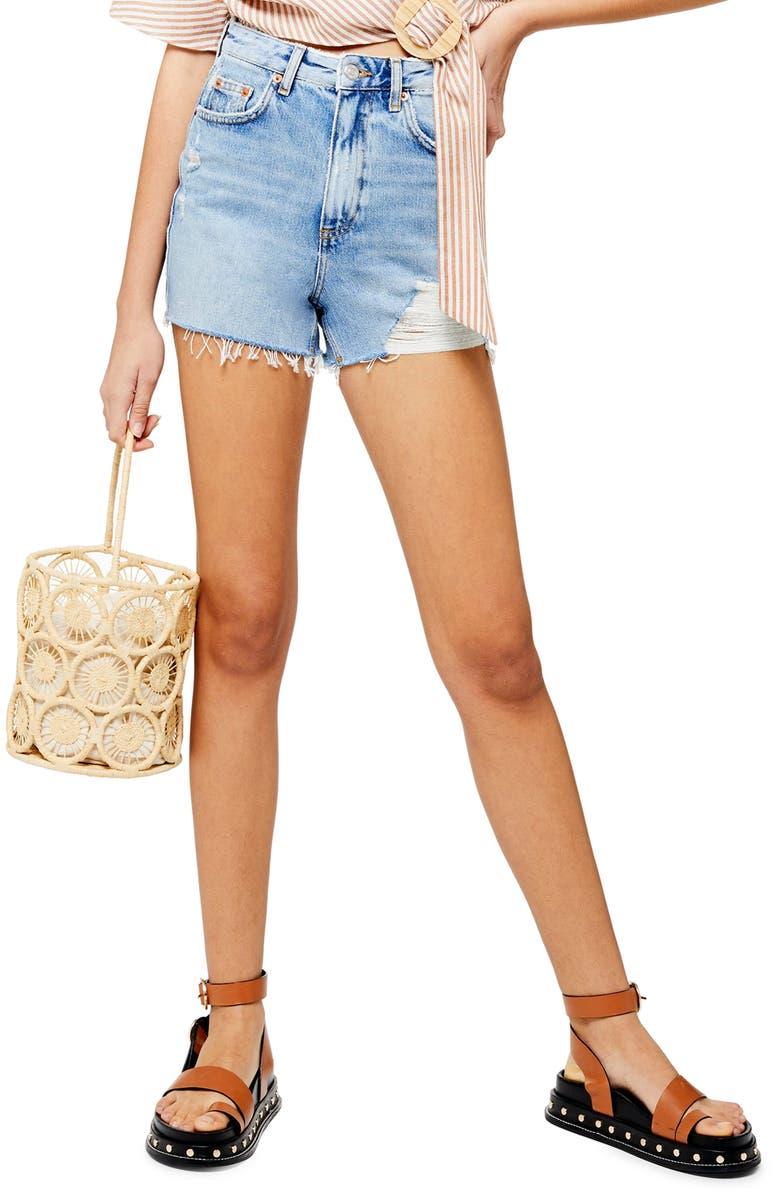 TOPSHOP Ripped Mom Denim Shorts, Main, color, BLEACH