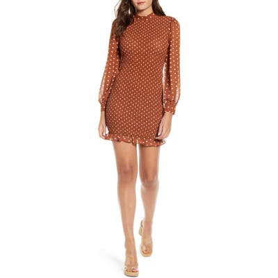 J.o.a. Polka Dot Smocked Minidress, Brown