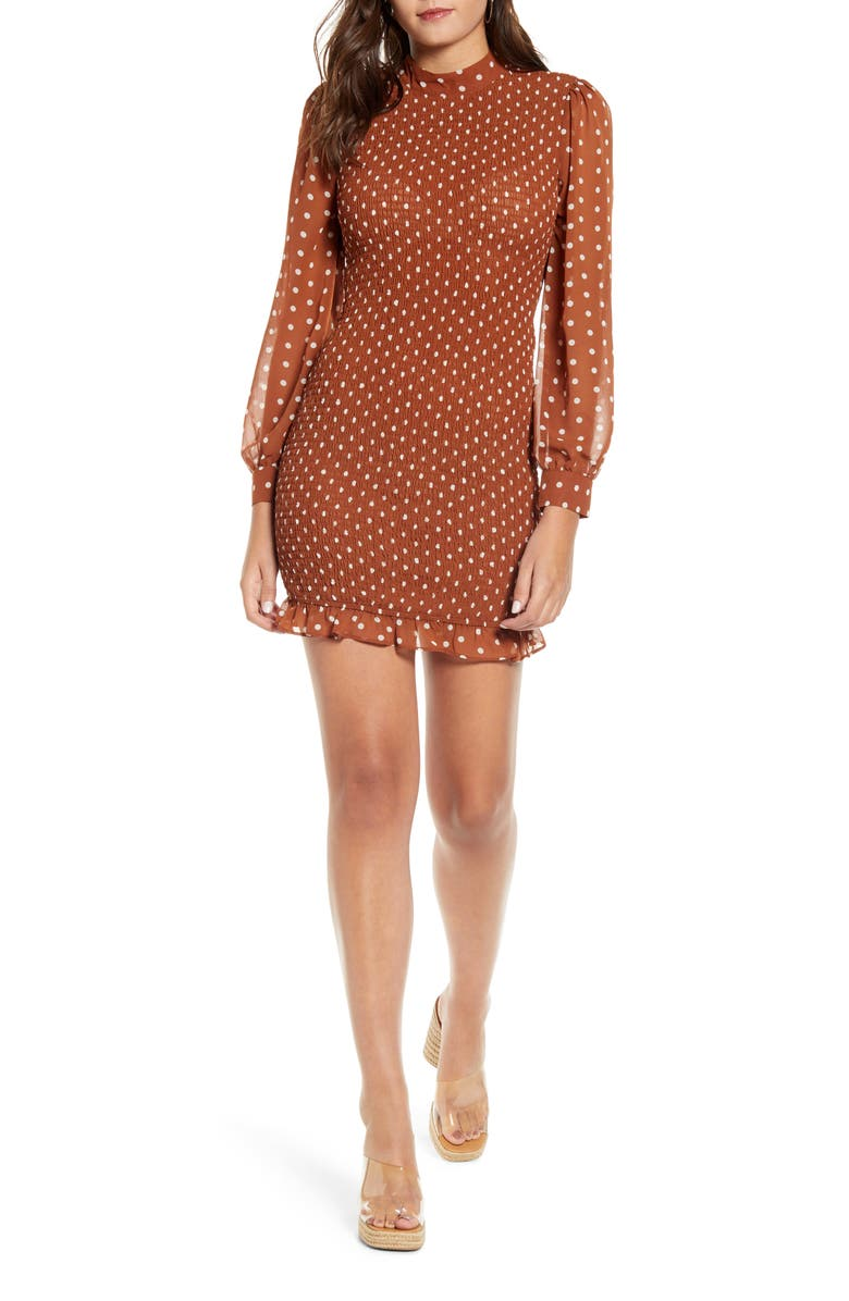 J.O.A. Polka Dot Smocked Minidress, Main, color, BROWN DOT
